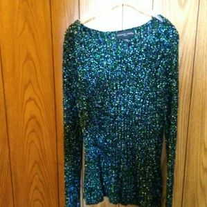 August Silks blue and green knit sweater